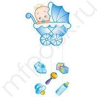 PR Подвеска С Днем Рождения Малыш голубая 75х40 см