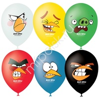 "M 12""/30см Пастель+Декоратор (шелк) 1 ст. 4 цв. рис Angry Birds Faces 50шт"