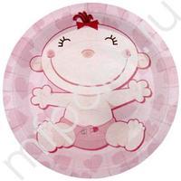 F 23см Тарелки бумажные ламинированные С днем Рождения, Малыш розовые 6шт