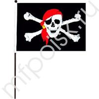 """KR Флажок """"Пиратский"""" средний 30см х 50см (полиэфирный шелк, пластик)"""