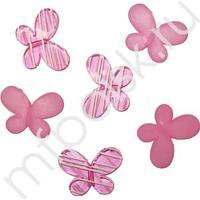 Q Декоративные бусины Мотылек розовые ассорти 3х2,2см 10шт