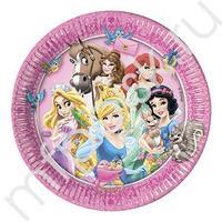 Pc 23см Тарелки бумажные ламинированные Принцессы и животные 8шт
