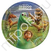 Pc 23см Тарелки бумажные ламинированные Хороший Динозавр 8шт