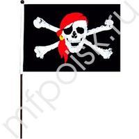 """KR Флажок """"Пиратский"""" большой 40см х 60см (полиэфирный шелк, пластик)"""