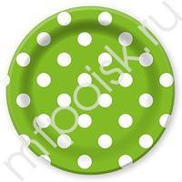 F 23см Тарелки бумажные ламинированные Горошек Зеленый 6шт