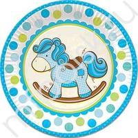 F 23см Тарелки бумажные ламинированные Лошадка Малыш голубая 6шт