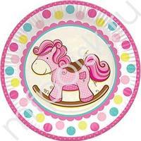 F 23см Тарелки бумажные ламинированные Лошадка Малышка розовая 6шт