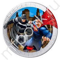 Pc 23см Тарелки бумажные ламинированные металлик Бэтмен против Супермена 8шт
