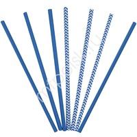 Y Трубочки бумажные ассорти Blue 12(6+6)шт