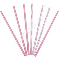 Y Трубочки бумажные ассорти Pink 12(6+6)шт