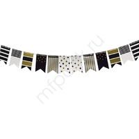 PR Гирлянда-флажки Black&Gold ассорти 250см