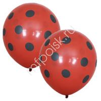 """M 12""""/30см Пастель Red (шелк) 5 ст. рис Горошек черный 25шт"""