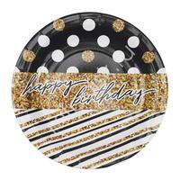 F 18см Тарелки бумажные ламинированные Happy Birthday Голливуд 6шт