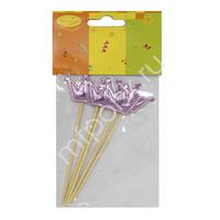 Y Шпажки для канапе/капкейков Корона розовая 11.5 см 5шт