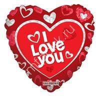"""K Сердце 659 Любовь Я тебя люблю красное 18""""/45см"""