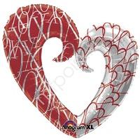 A Фигура Любовь Сердце вензель двухцветное 76см X 81см