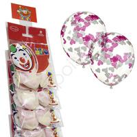 """M CS 12""""/30см Декоратор TRANSPARENT наполнение сердца конфетти бумага белые, розовые 2шт (оптовая цена)"""
