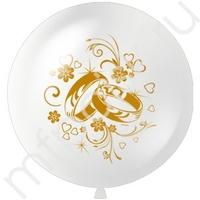 """M 36""""/91см Пастель WHITE (шелк.золото) 3 ст. рис Свадебные кольца 1шт"""