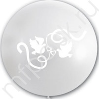 "M 36""/91см Декоратор TRANSPARENT (шелк. белый) 3 ст. рис Голуби 1шт"